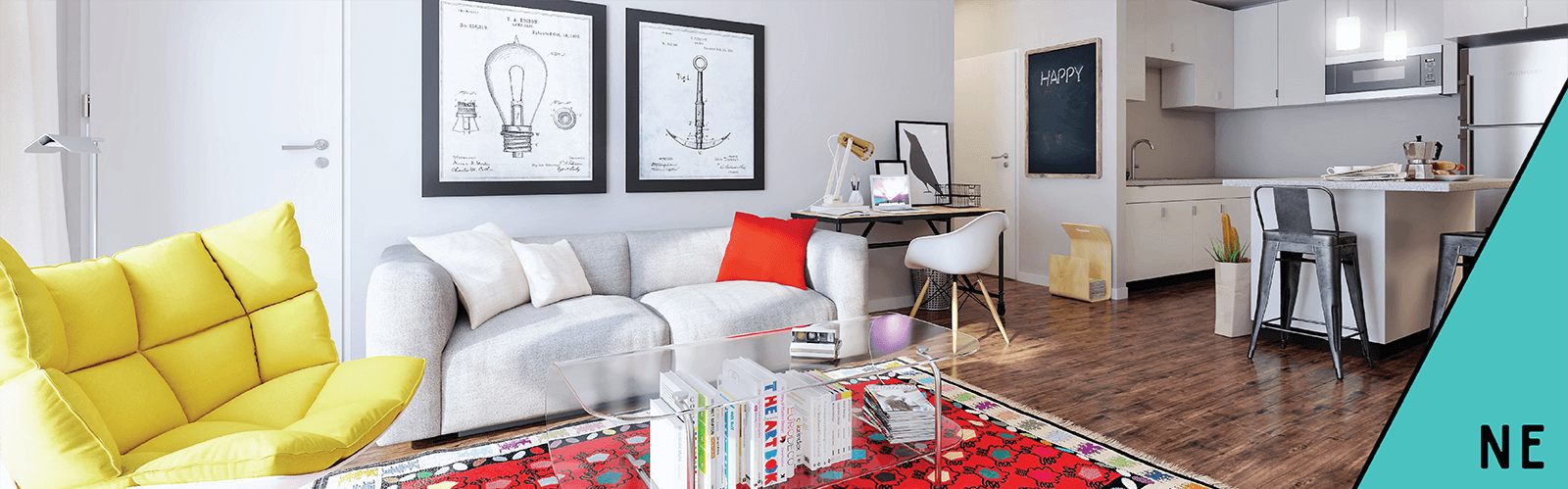 Living Area at Mezzo Apartments Northeast Minneapolis MN