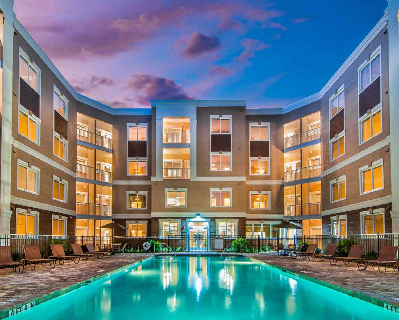 Swimming Pool at Dusk at Riversong Apartments in Bradenton, FL