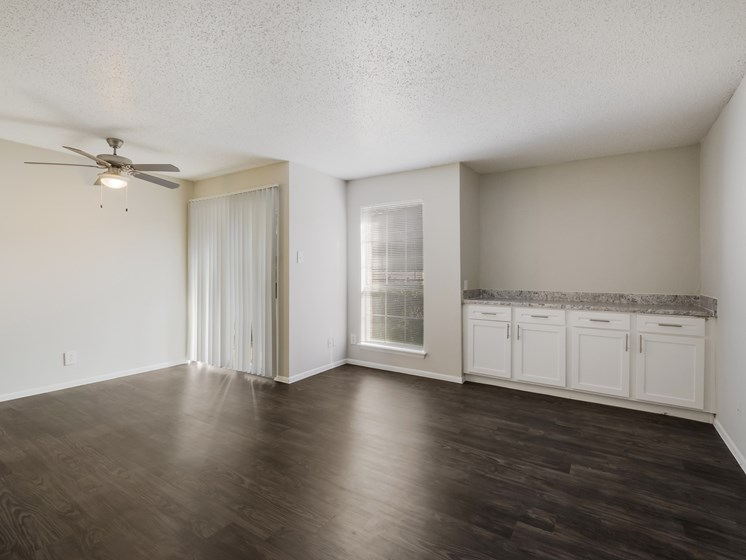 bedroom with white cabinets