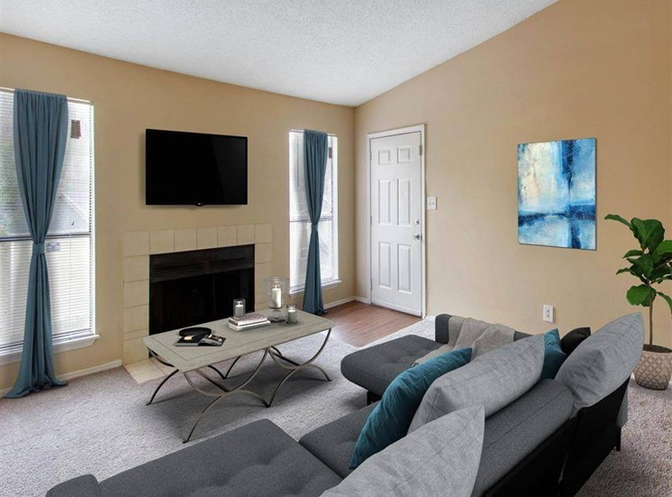 Living Room with Virtually Placed Furniture Fireplace with Tile Surround