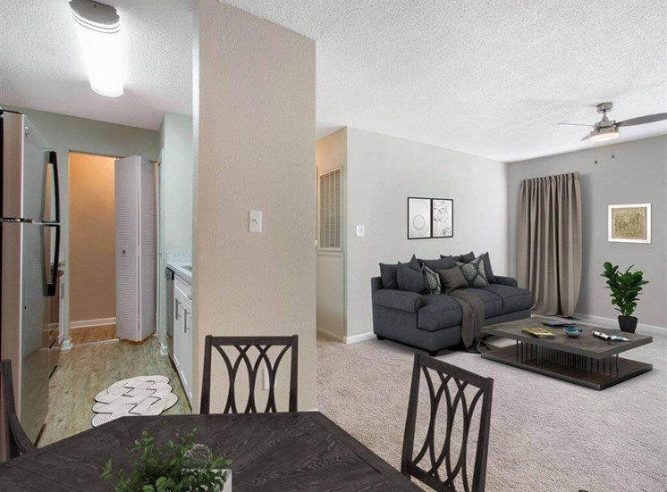 Dining  and Living Room with Virtually Staged Furniture