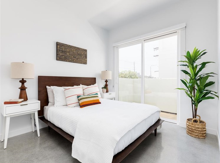 Bedroom With Balcony Views  at The Perch, Los Angeles, CA