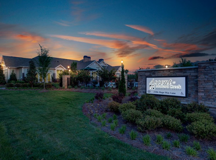 Twilight area view at Ascent at Mallard Creek Apartment Homes, Charlotte, NC