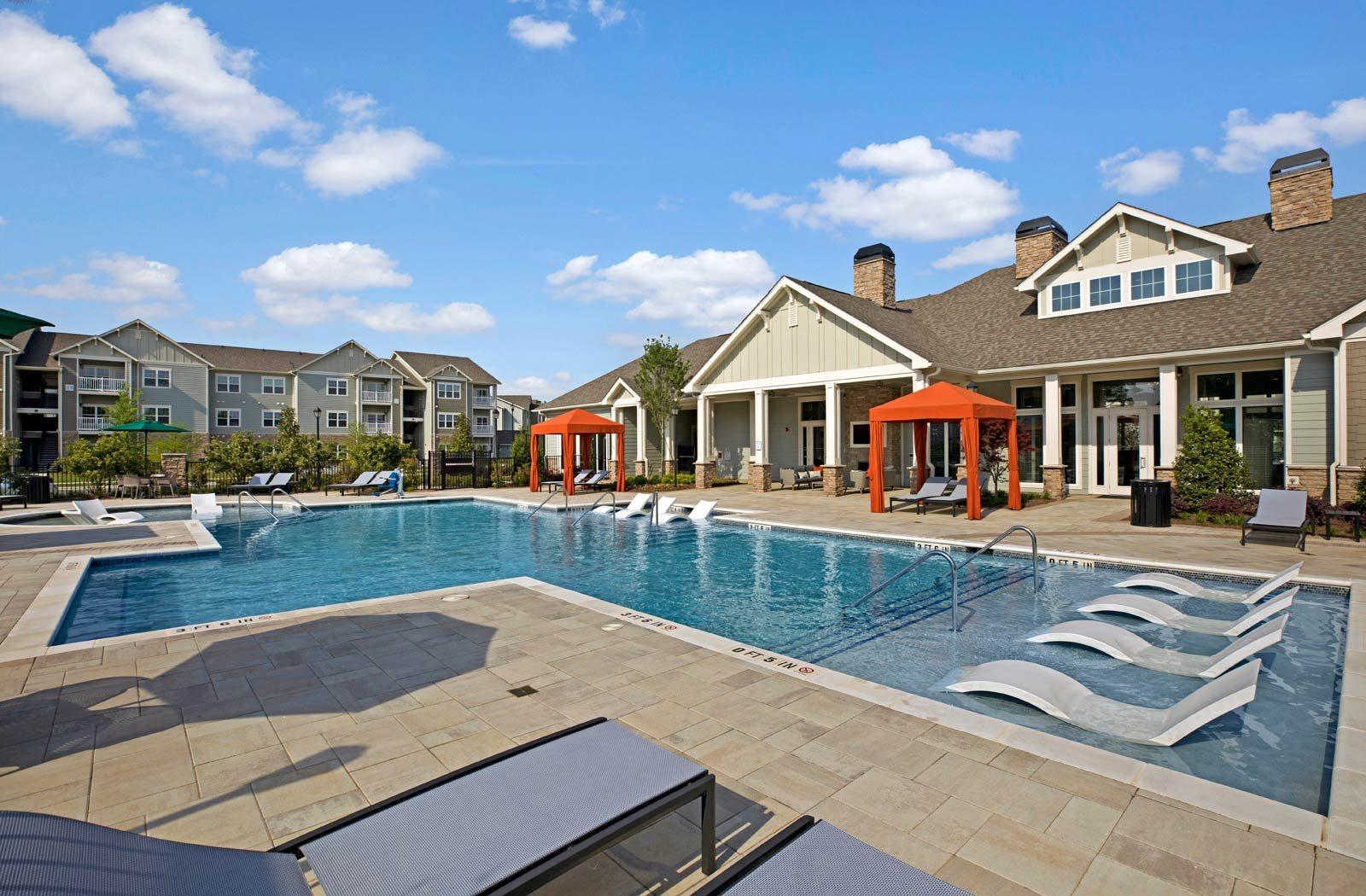 Swimming pool area view at Ascent at Mallard Creek Apartment Homes, Charlotte
