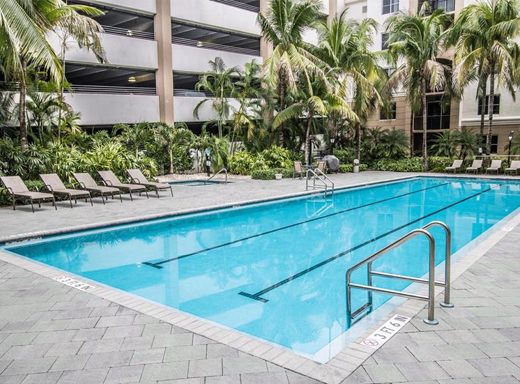 Vizcaya Lakes apartments lap pool in Boynton Beach, Florida
