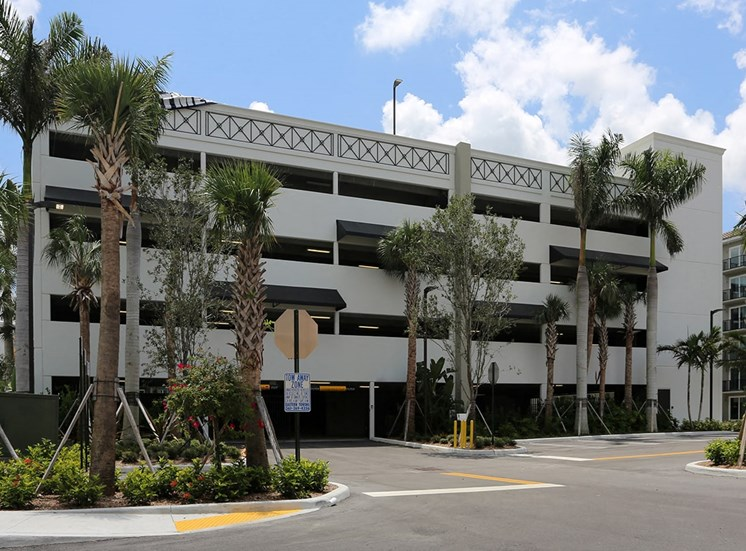 Private resident parking garage at Santorini at Renaissance Commons in Florida