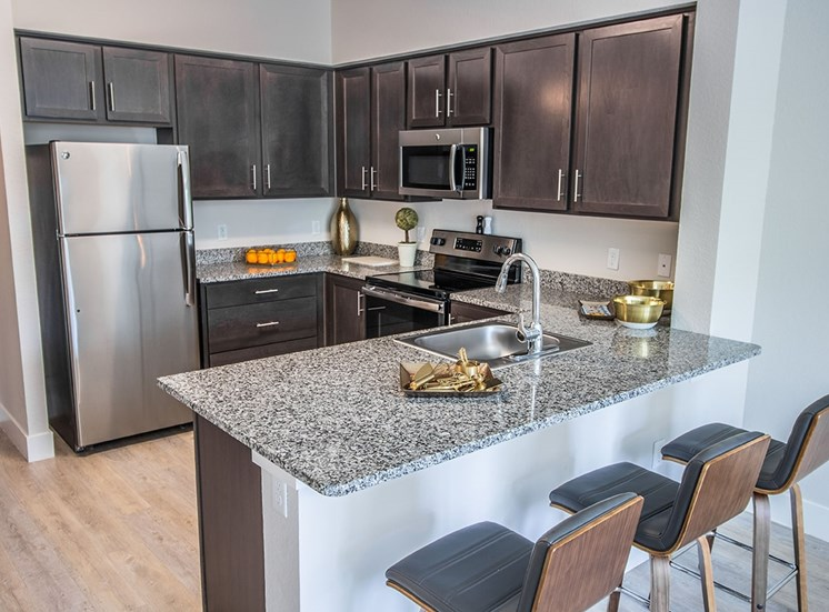 Santorini apartments in South Florida with granite countertops and wood cabinets