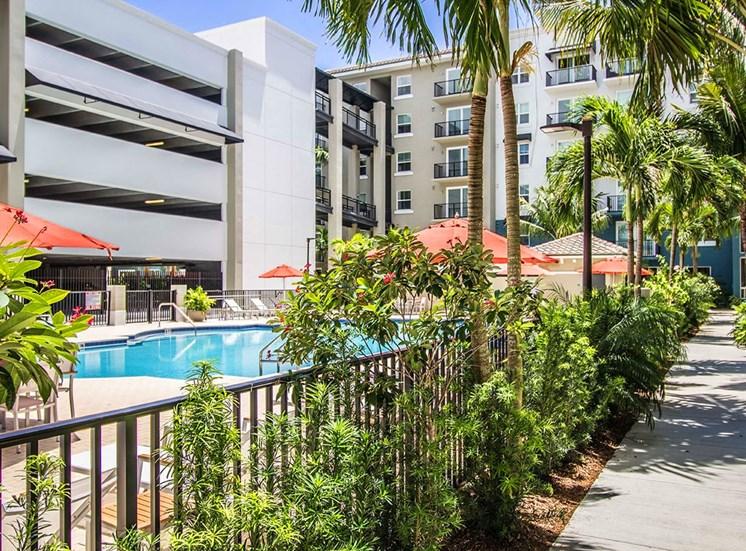 Santorini apartments in Boynton Beach features a large pool area
