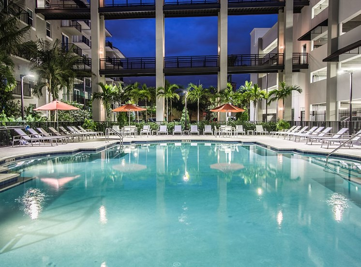 Santorini at Renaissance Commons features a heated, lighted pool in Florida