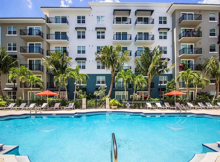 Santorini apartments overlook the large pool area in Florida