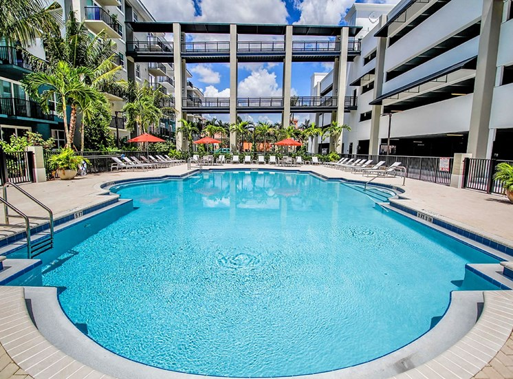Santorini at Renaissance Commons features a large pool area and parking garage