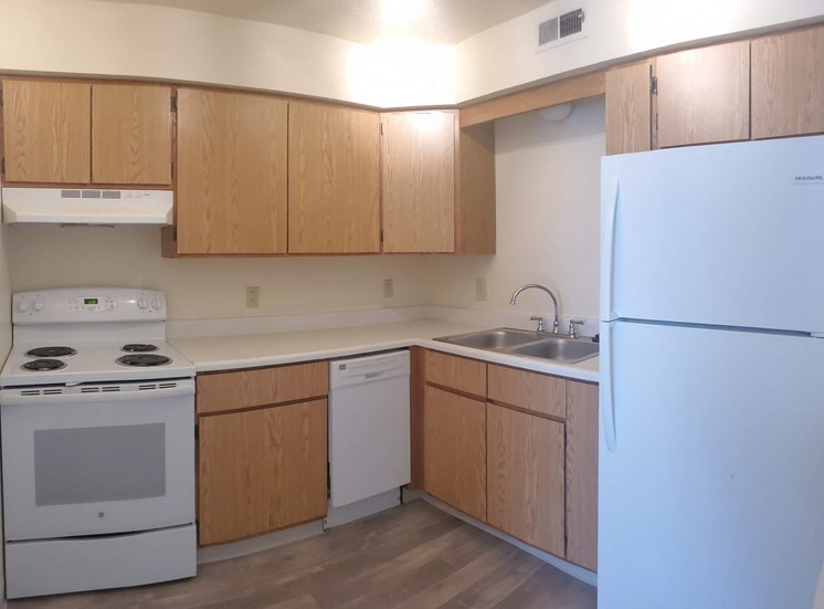 Upgraded kitchen cabinets, appliances and flooring at Bradford Place Apartments, Lafayette, Indiana