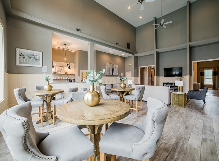 Eat-In Table With High Chairs In Clubhouse at Champion Farms Apartments, Louisville, 40241