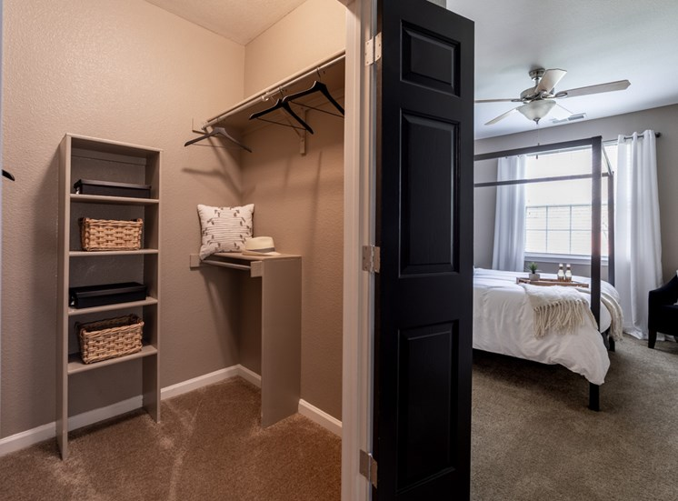 Closet attached to bedroom at The Reserve at Williams Glen Apartments, 2201 Williams Glen Blvd, Zionsville