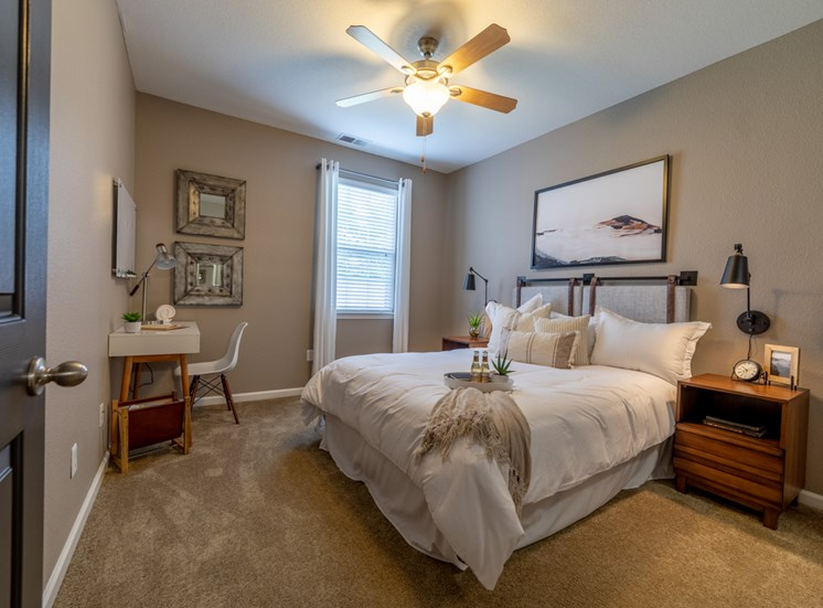 Spacious carpeted bedroom at The Reserve at Williams Glen Apartments, IN, 46077
