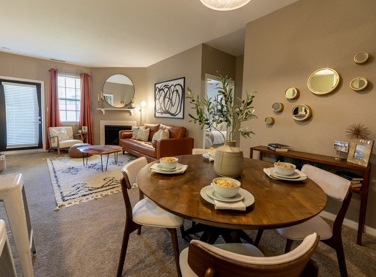 Decorated dining room at The Reserve at Williams Glen Apartments, Zionsville, IN
