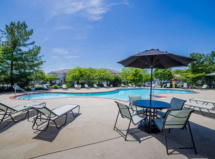 Sundeck with seating at The Reserve at Williams Glen Apartments, Zionsville, Indiana