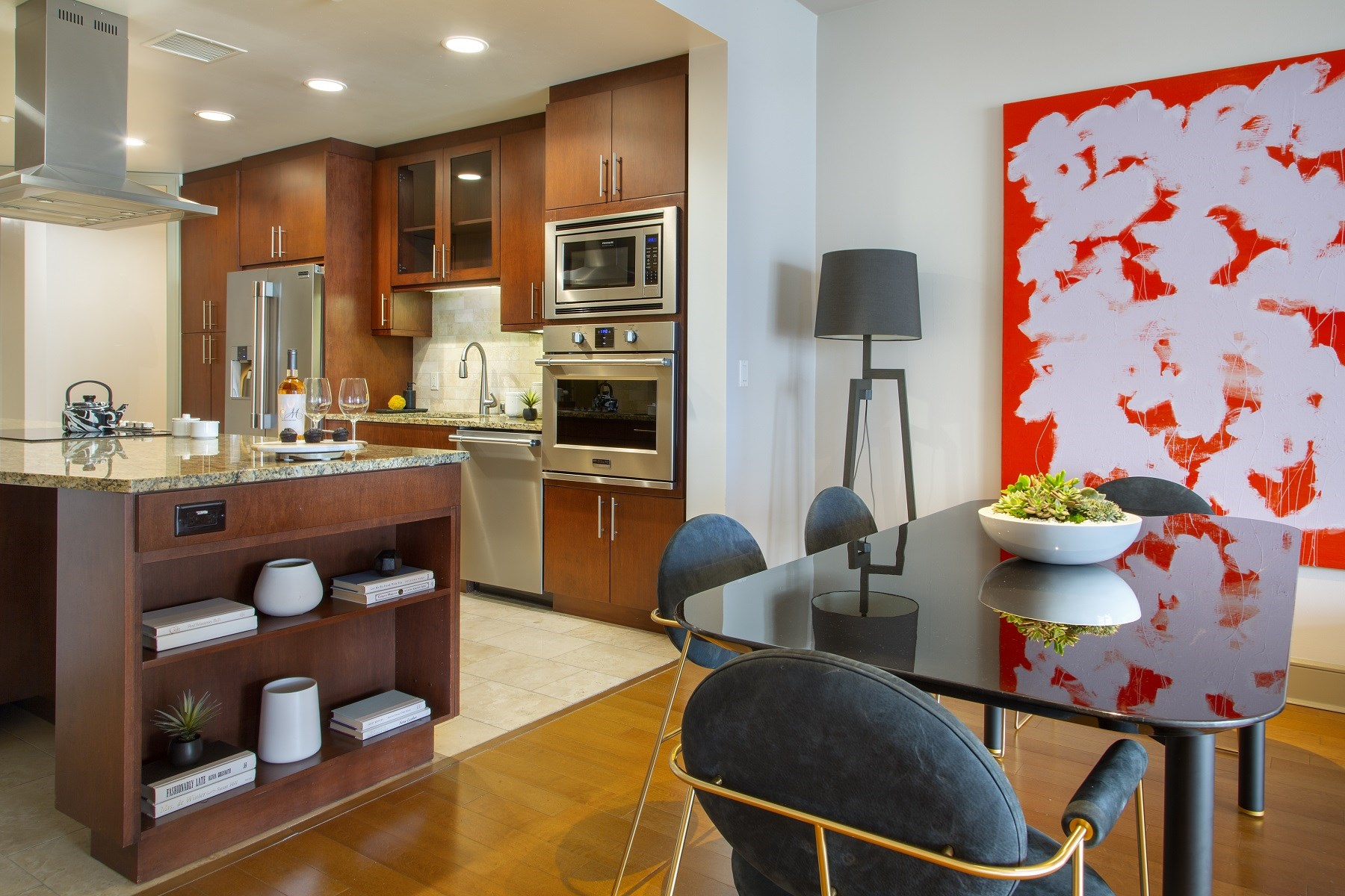 Westwood-Luxury-Apartments-Wilshire-Victoria-Unit-401-Kitchen-And-Living-Area