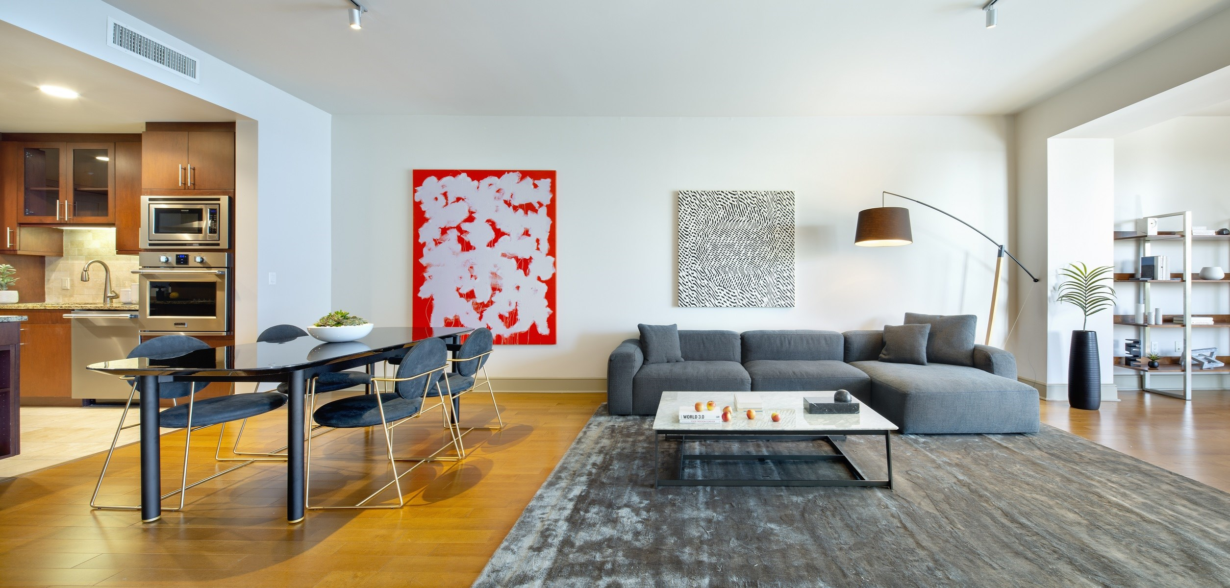 Westwood-Luxury-Apartments-Wilshire-Victoria-Unit-401-Living-Room-Area-With-Kitchen-And-Dining-Nearby(2)