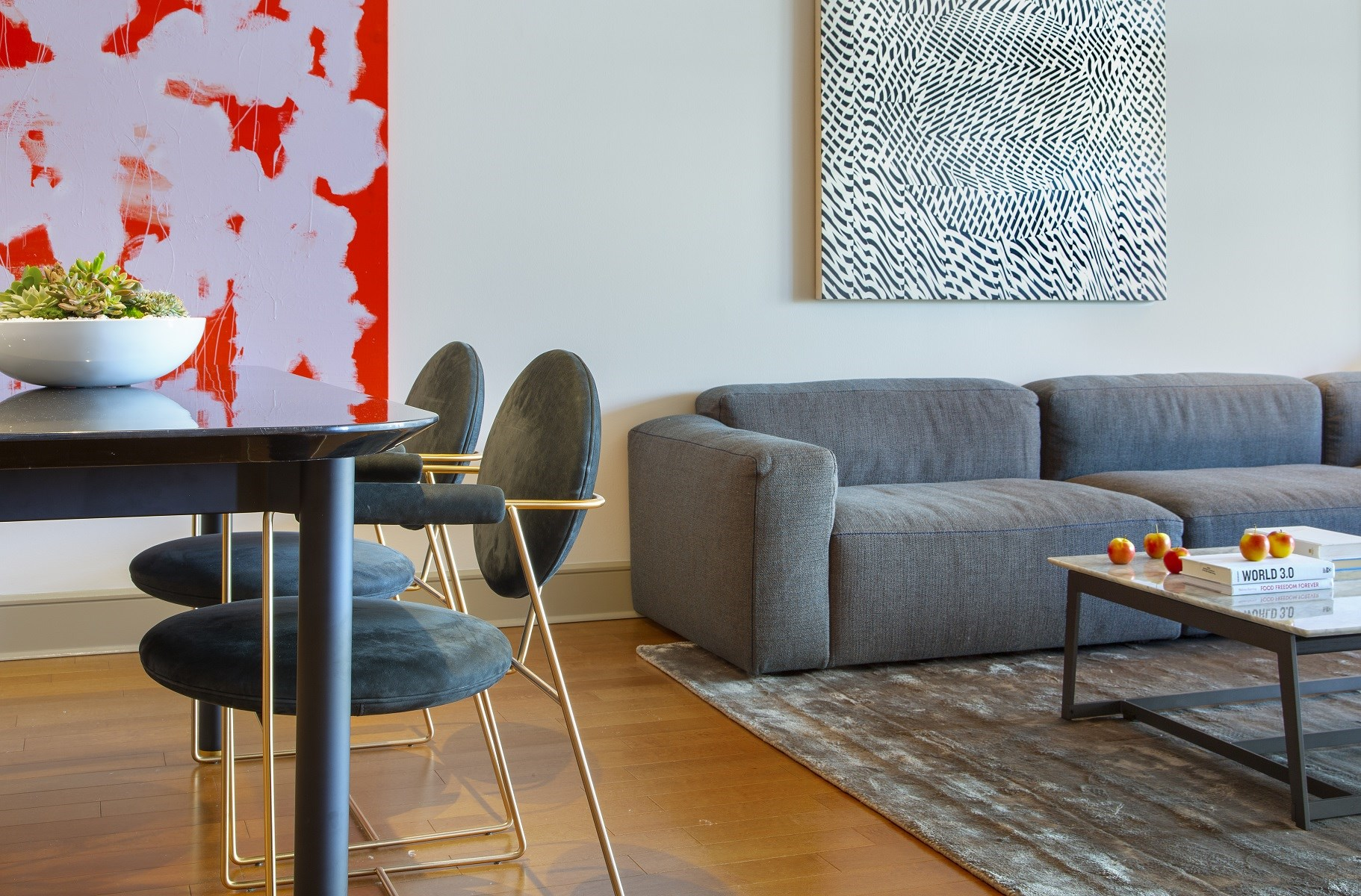 Westwood-Luxury-Apartments-Wilshire-Victoria-Unit-401-Living-Room-With-Dining-Table-And-Chairs