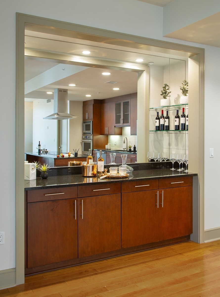 Westwood-Luxury-Apartments-Wilshire-Victoria-Unit-502-Kitchen-Area-Dry-Bar-With-Mirror