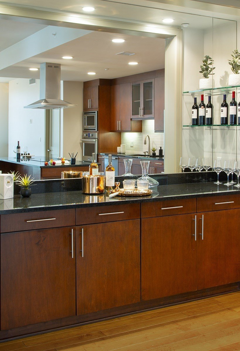 Westwood-Luxury-Apartments-Wilshire-Victoria-Unit-502-Kitchen-Area-With-Dry-Bar