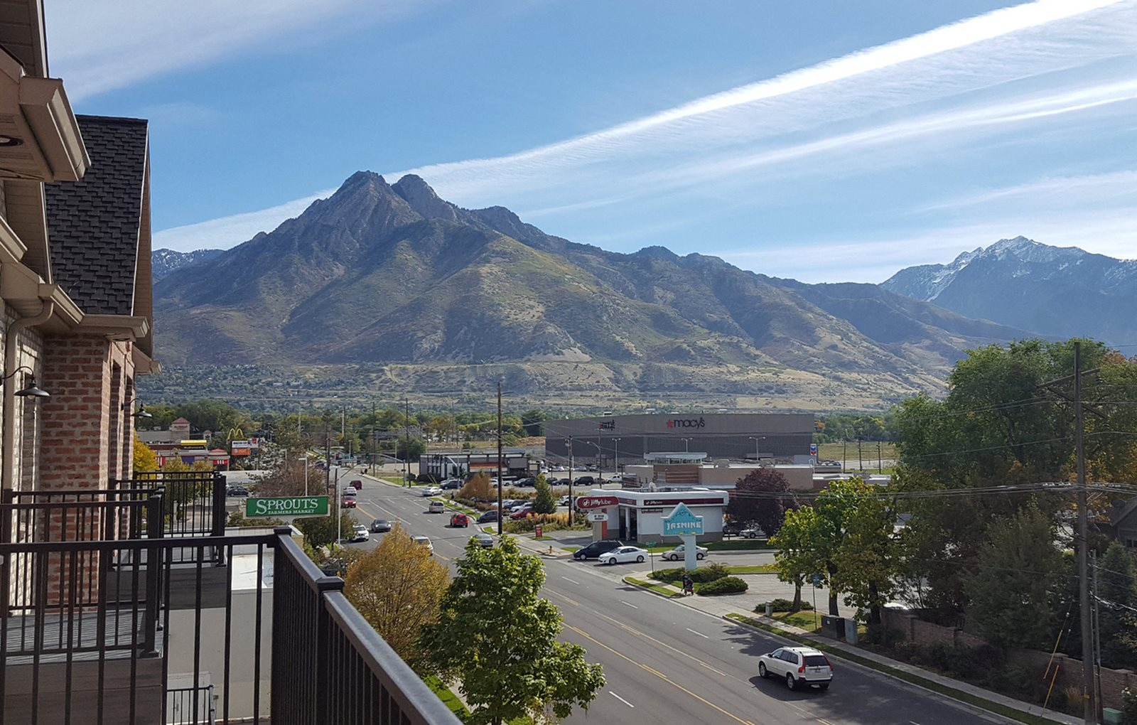 Vacant apartment home balcony and mountain views