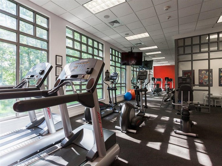 Fully-Equipped Fitness Center at The Preserve Apartments, 100 Hilltop Dr, Walpole, MA 02081