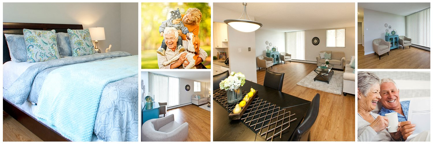 Collage of interior, exterior, and lifestyle images at Wellington Park Towers in St. Thomas, ON
