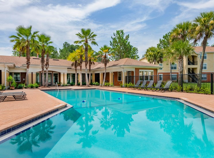 Swimming Pool and Leasing Office Surrounded by Palm Trees