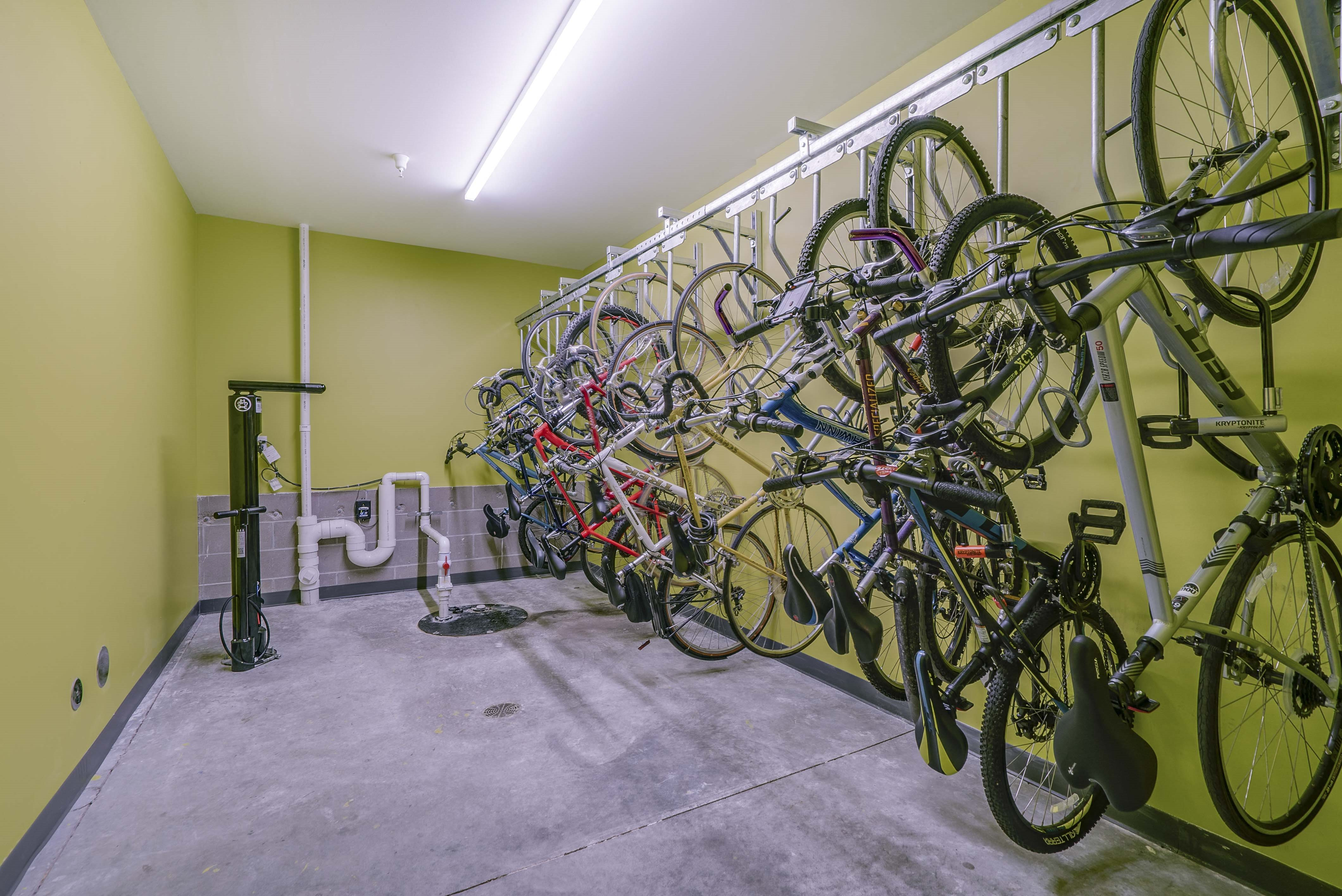 Heated indoor bike racks and storage at The Central apartments near downtown Minneapolis MN 55408