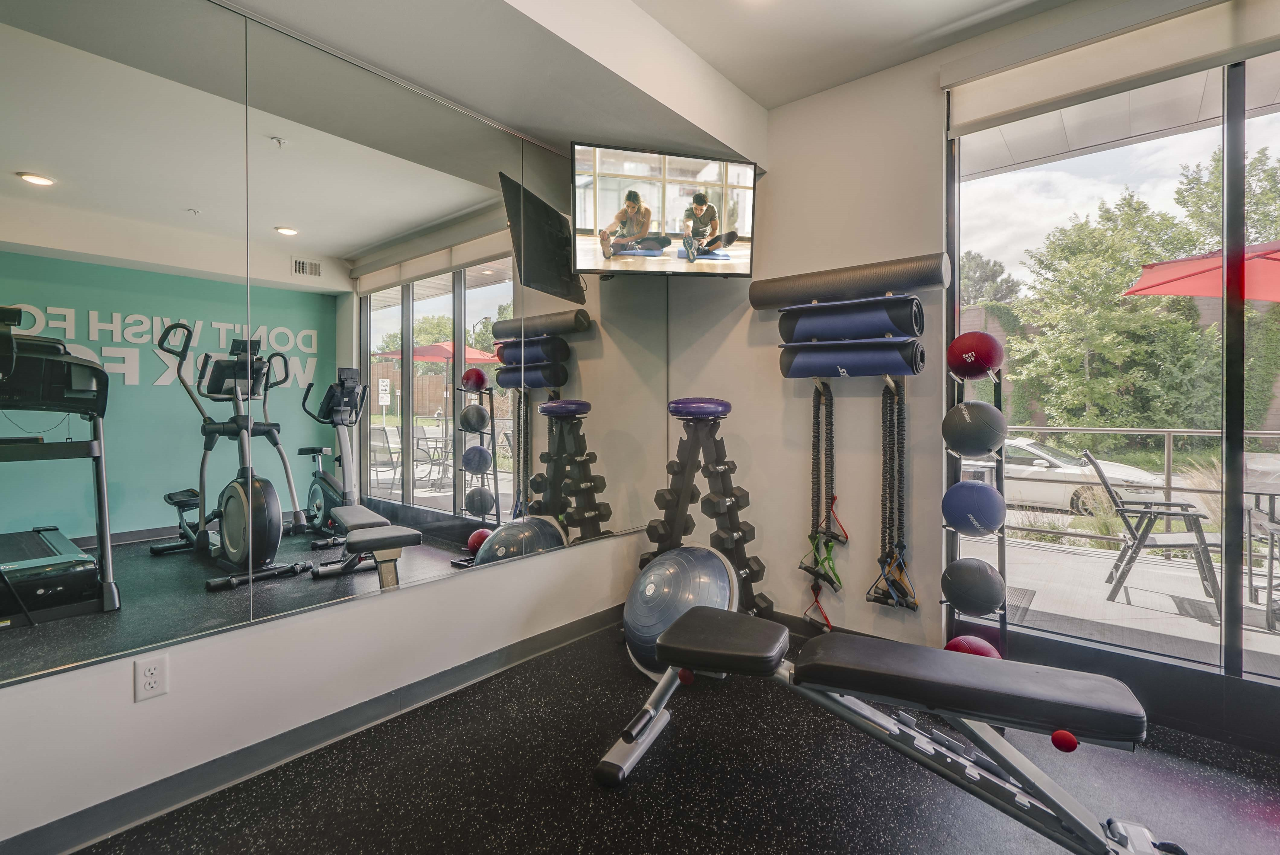Fitness Center with cardio equipment at The Central apartments near downtown Minneapolis MN 55408