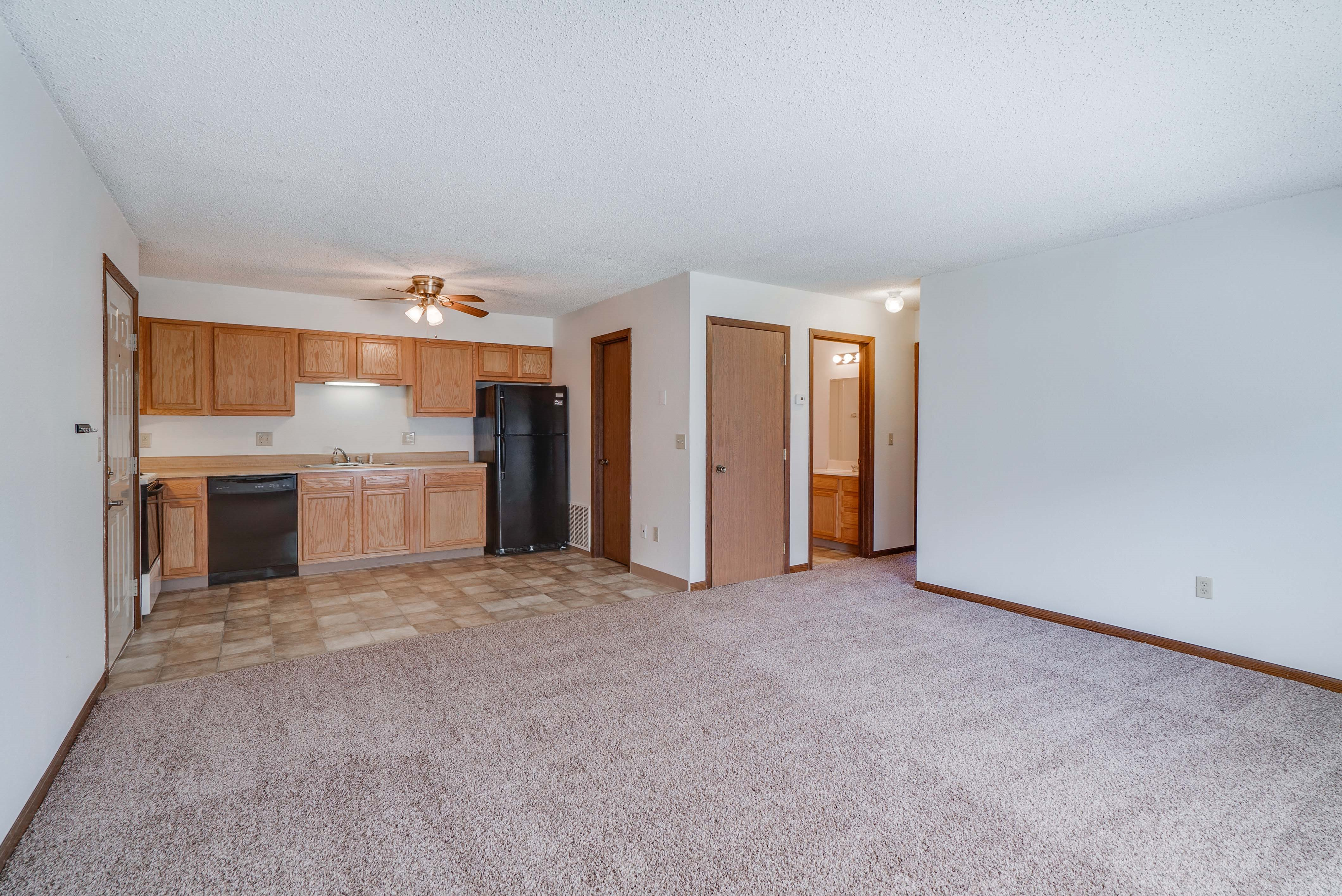 Open floorplan kitchen and living room at South View Apartments