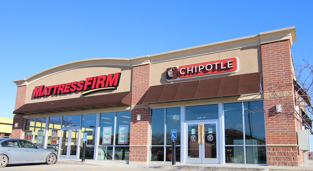 Mattress firm and Chipotle located near South View Apartments