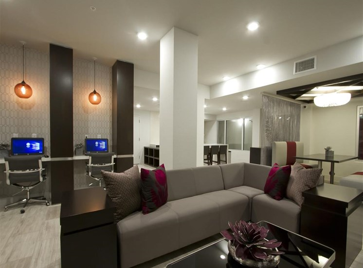 Social Lounge with WiFi Cafe  with large couch, coffee table and tv