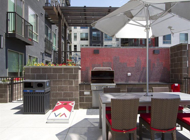 Rooftop lounge with gas grill, lounge seating, overlooking city