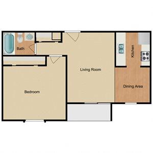 One Bed One Bath Floor Plan at Harlow at Gateway, St. Petersburg, FL