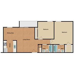 Two Bed Two Bath Floor Plan at Harlow at Gateway, St. Petersburg, 33702