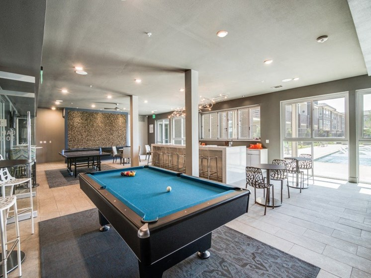 Entertainment Media and Game Room with Billiards, Ping Pong, & Foosball