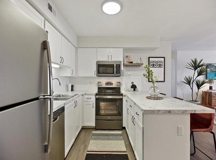 Renovated kitchen at Columbia Village, Idaho, 83716