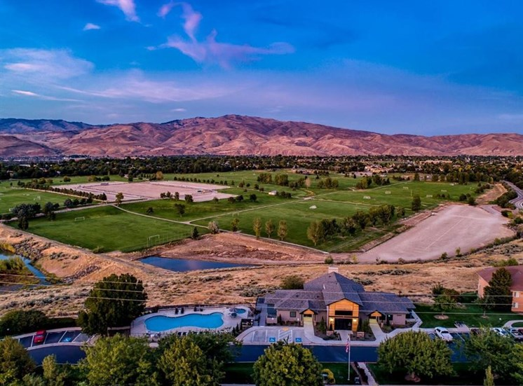 View from clubhouse at Columbia Village, Boise, ID, 83716