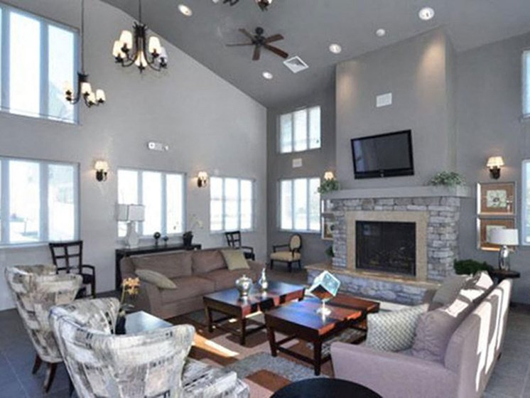 Community Clubhouse Lounge Area at Quail Run Apartment Community in Stoughton, MA