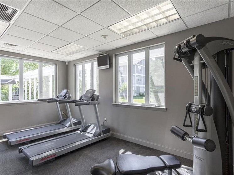 Fully-Equipped Fitness Center at Quail Run Apartments in Stoughton, MA