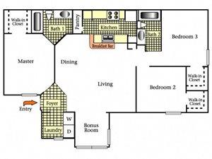 Three Bedrooms Two Bath