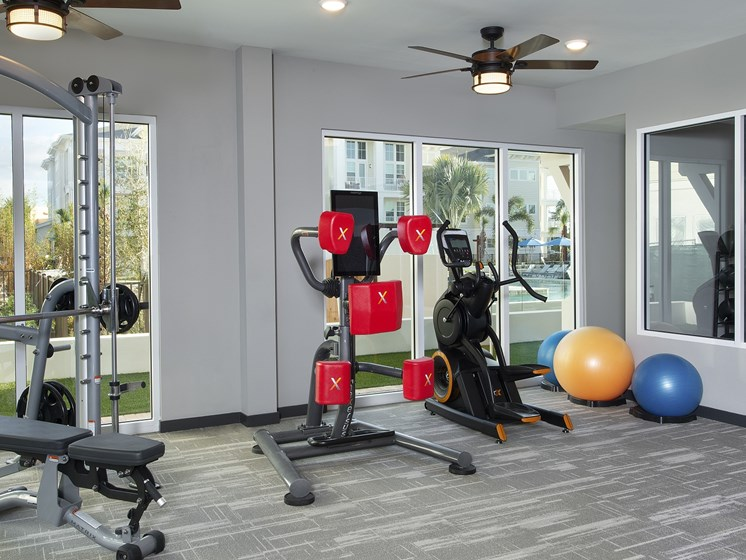 State-of-the-Art 24 Hr. Fitness Center and Boxing Studio at The Edison Apartments, Fort Myers, FL 33905