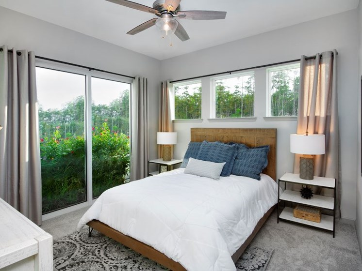Master Bedroom Feels Large and Spacious with Impressive Views and Large Walk-In Closets at The Edison Apartments in Fort Myers, FL 33905