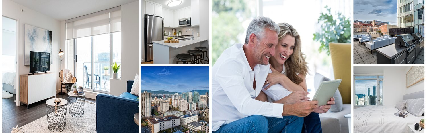Collage of interior, exterior, and lifestyle images at Wesley Place in Vancouver, BC