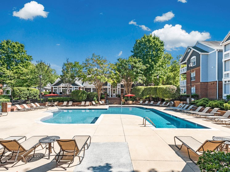 Pool Side Relaxing Area at The Village Apartments, Raleigh, North Carolina