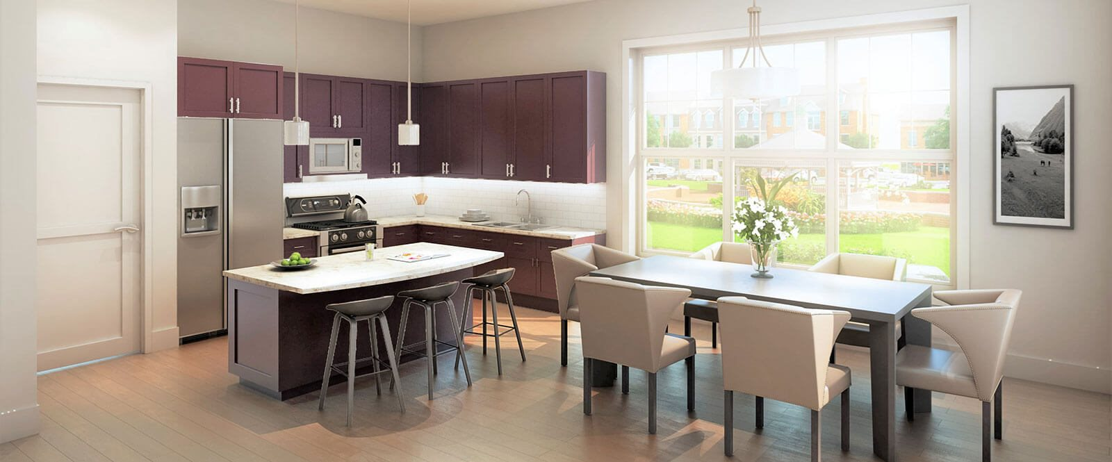 Kitchens include granite counter tops with stainless appliances