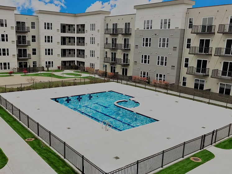 aerial photo of pool